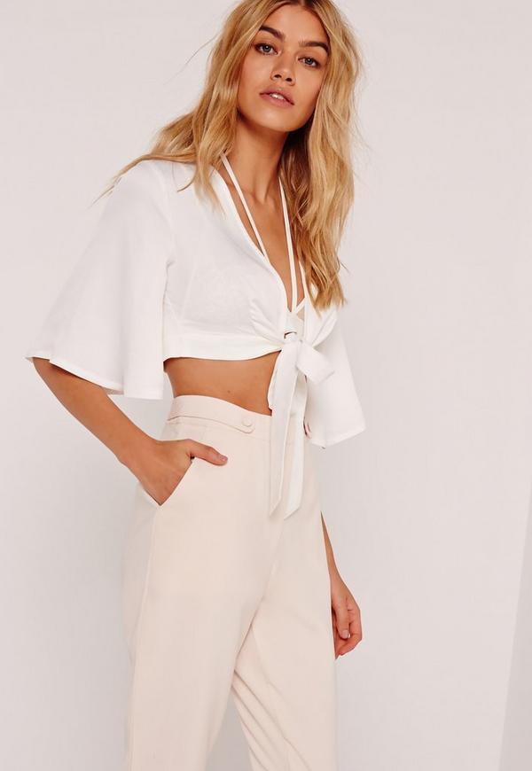 Kimono Sleeve Satin Tie Front Crop White