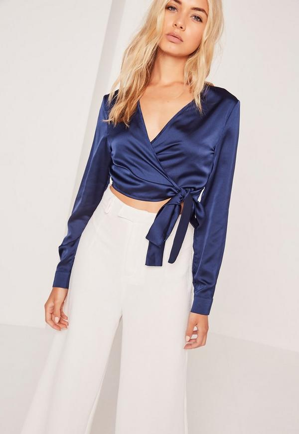 Navy Long Sleeve Satin Cropped Blouse