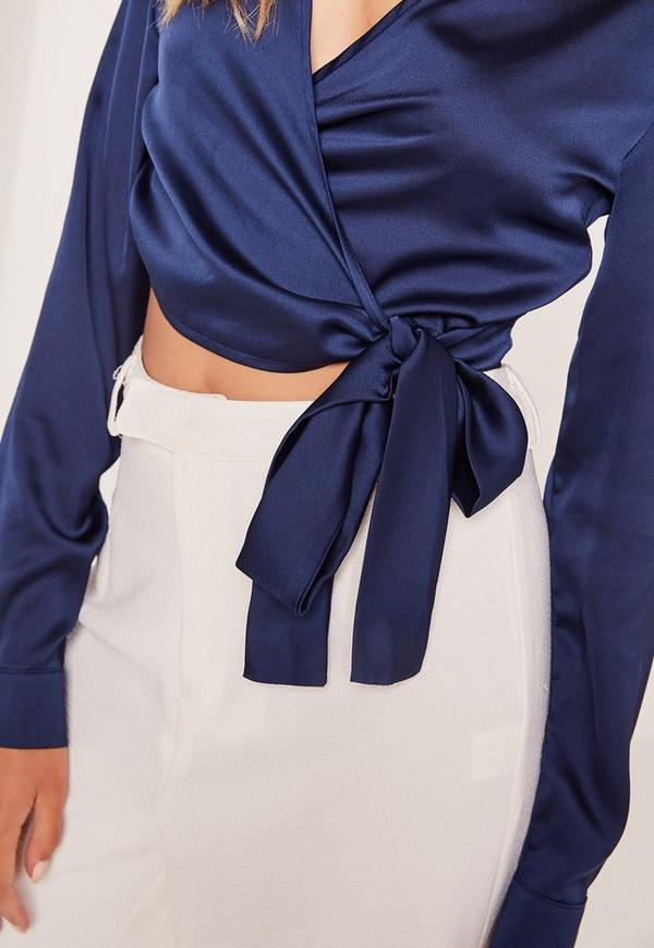 Navy Long Sleeve Satin Cropped Blouse Missguided Australia