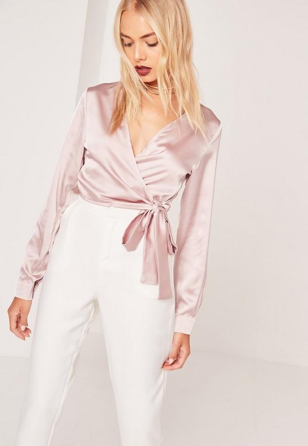 Long Sleeve Satin Wrap Front Crop Pink