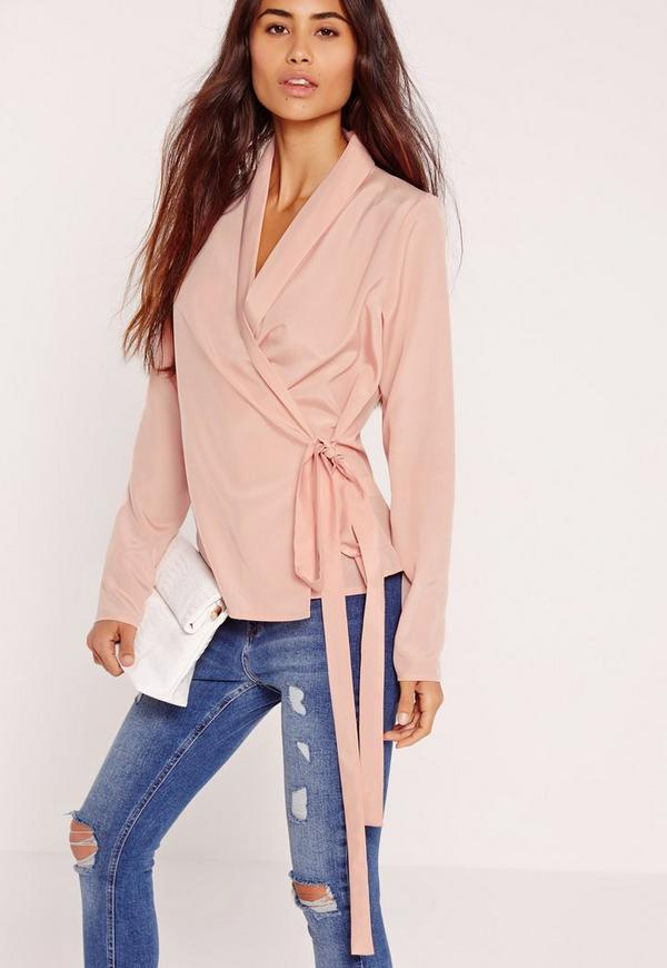 Long Sleeve Wrap Tie Side Blouse Pink