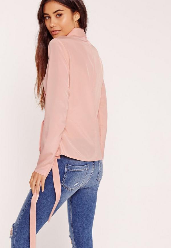 Long Sleeve Wrap Tie Side Blouse Pink