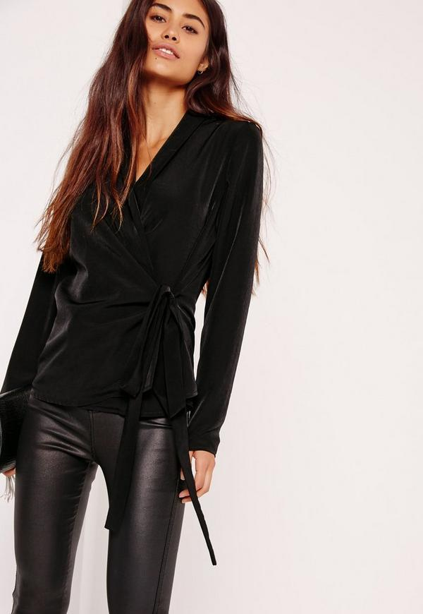 Long Sleeve Wrap Tie Side Blouse Black