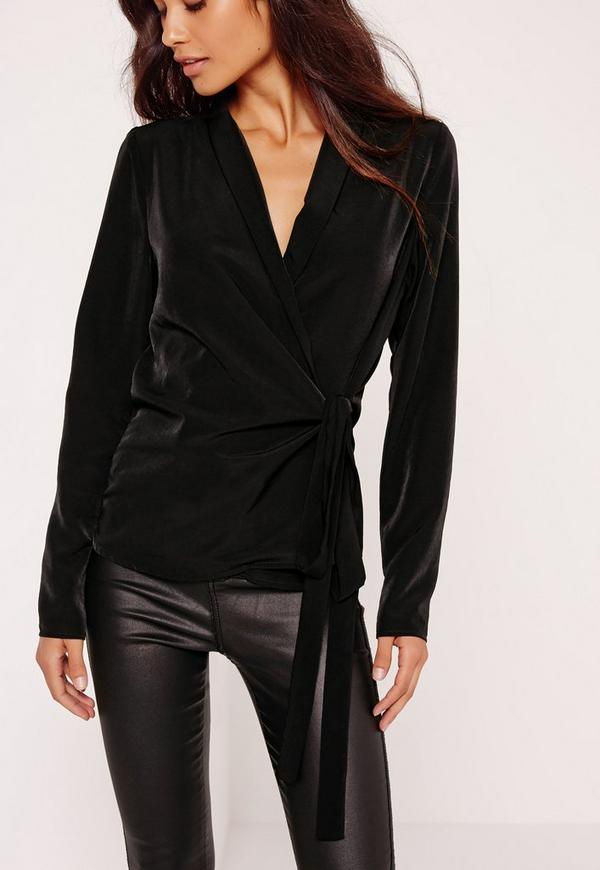 Long Sleeve Wrap Tie Side Blouse Black