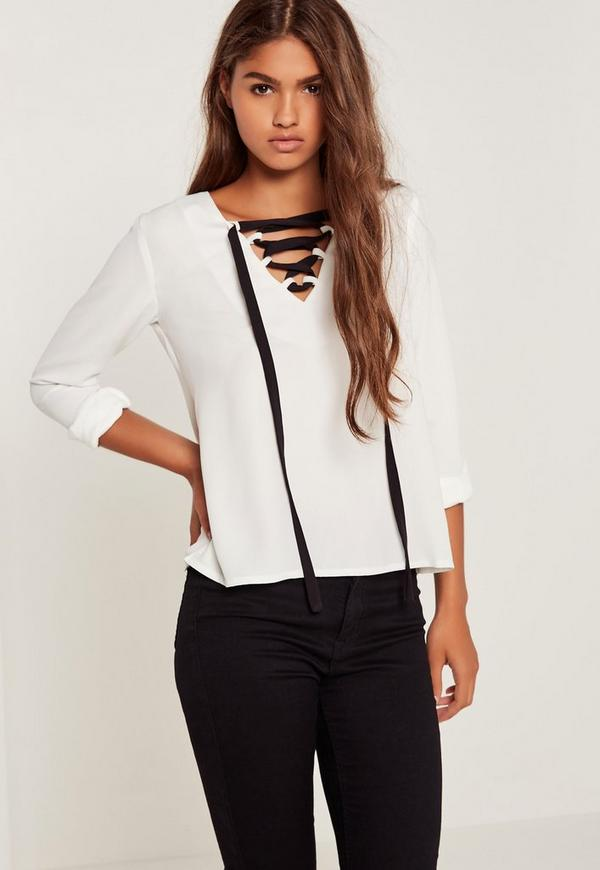Lace Up Blouse White
