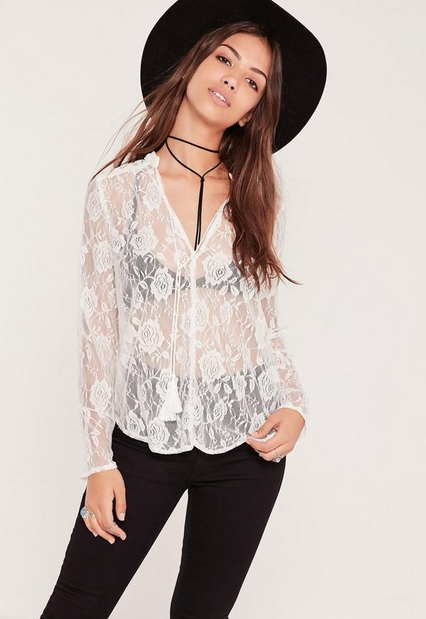 Sheer Lace Blouse White