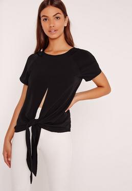Longline Tie Hem Blouse Black