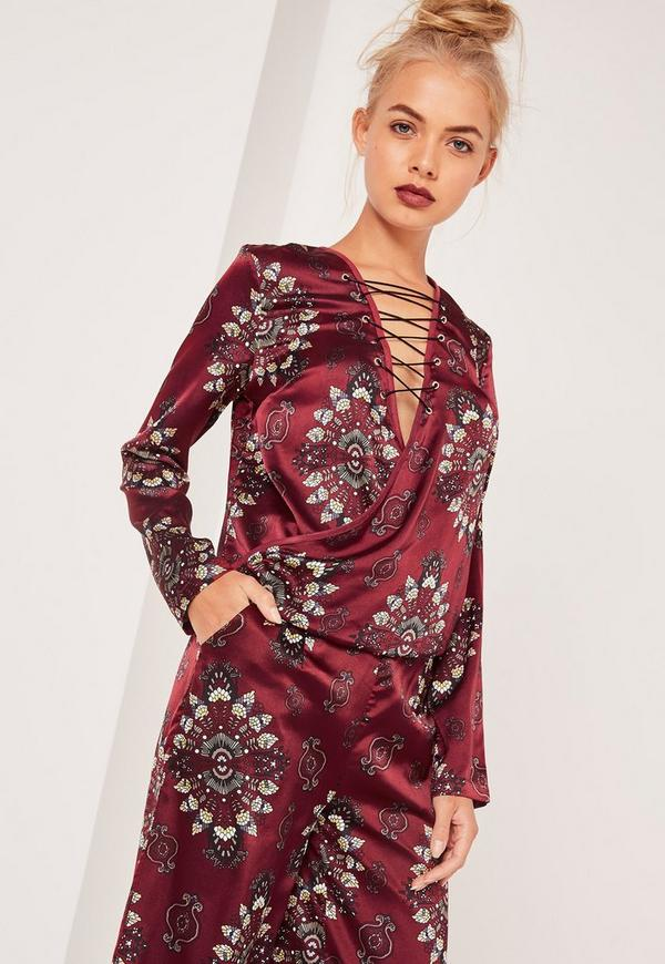 Lace Up Wrap Over Blouse Print Burgundy