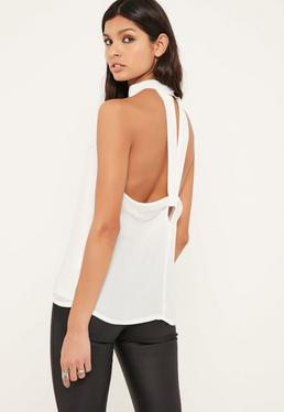 White Tab Neck Twist Back Blouse