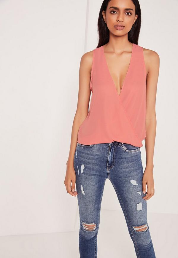 Wrap Front Sleeveless Blouse Rose