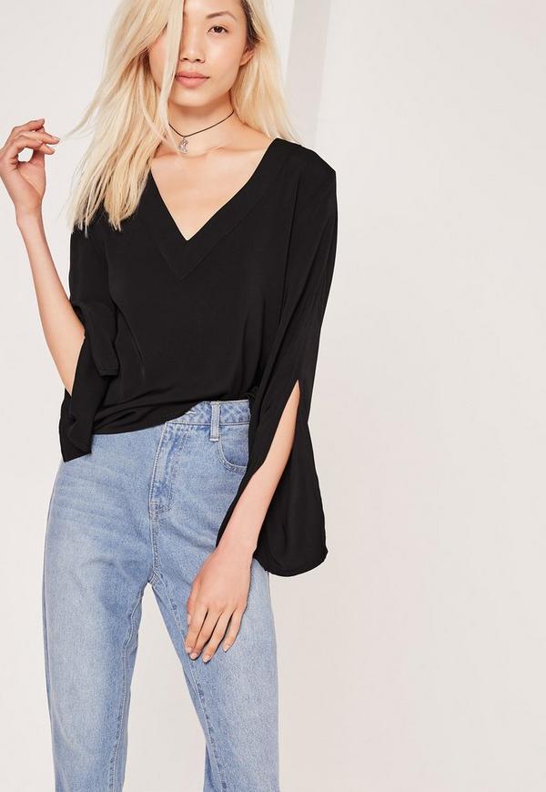 Split Sleeve V Neck Blouse Black