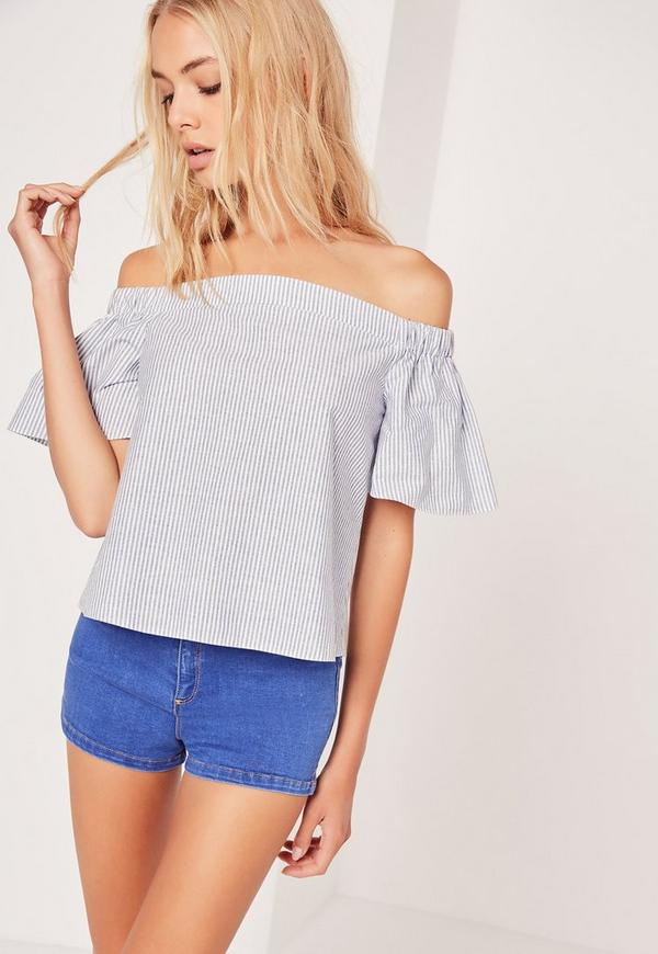 Stripe Bardot Blouse Blue