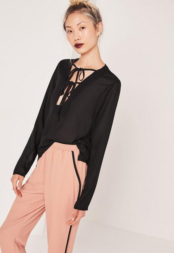 Double Tie Front Detail Blouse Black