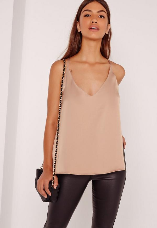 Backless Cross Strap Cami Nude