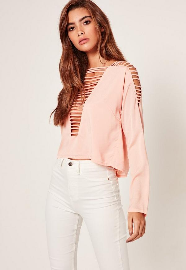 Plunge Ladder Chiffon Crop Top Nude