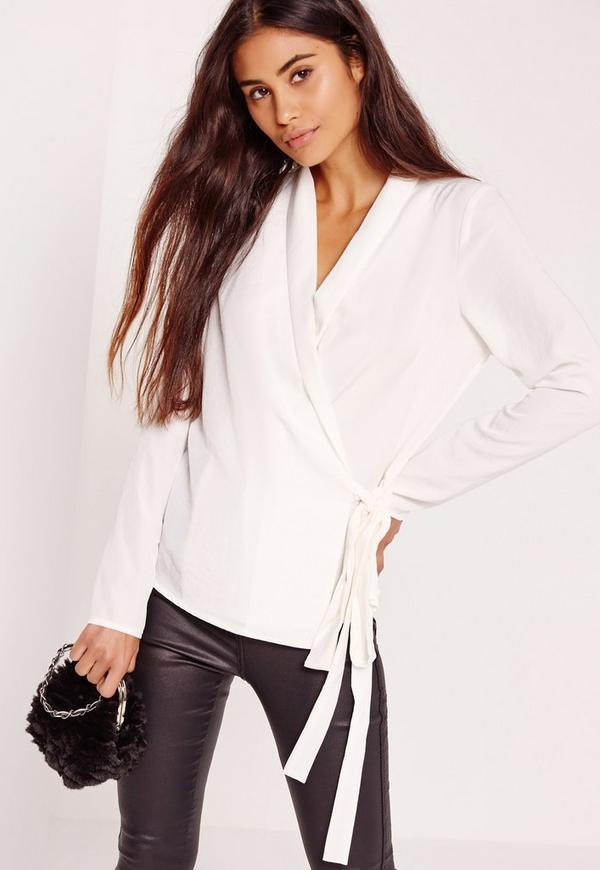 Long Sleeve Wrap Tie Side Blouse White