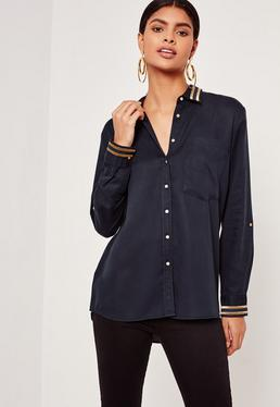 Tensile Gold Stripe Collar Shirt Navy