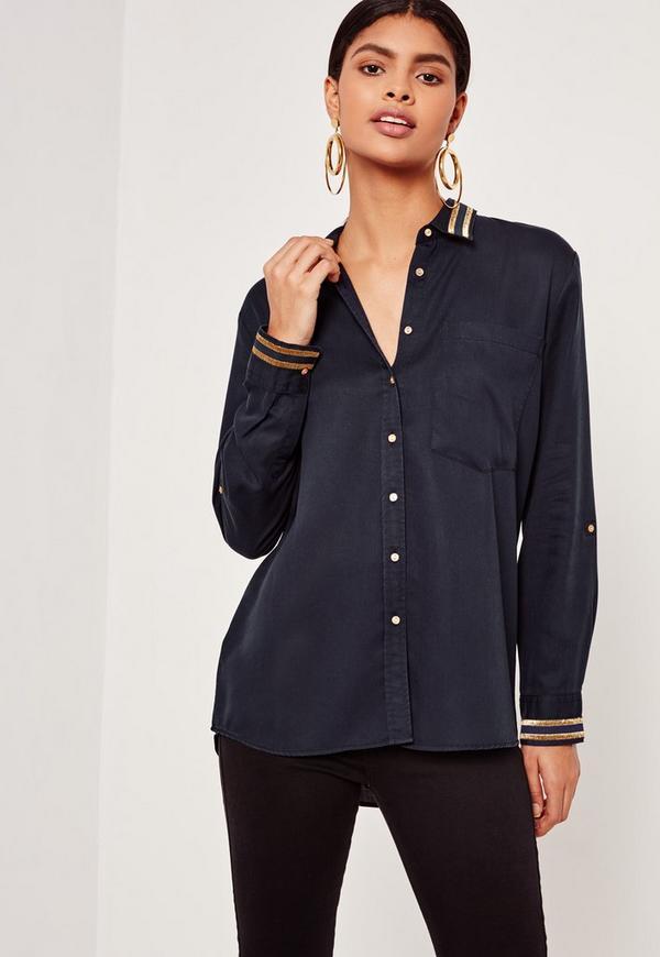 Tensile Gold Stripe Collar Shirt Navy