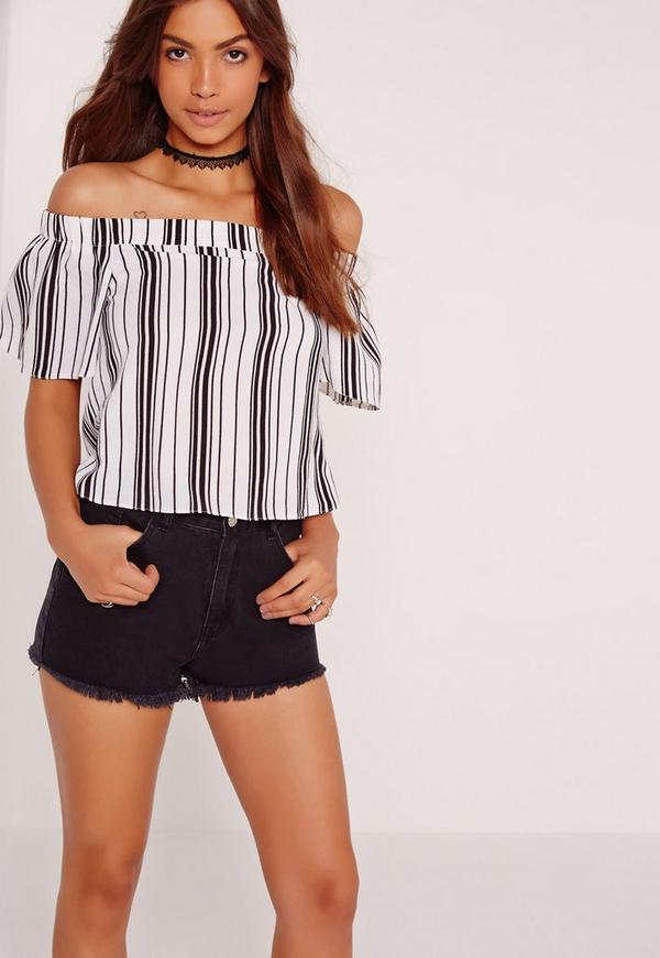 Short Sleeve Stripe Bardot White