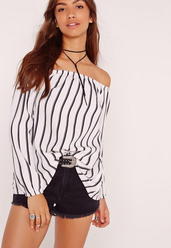 Long Sleeve Stripe Bardot Top White-16