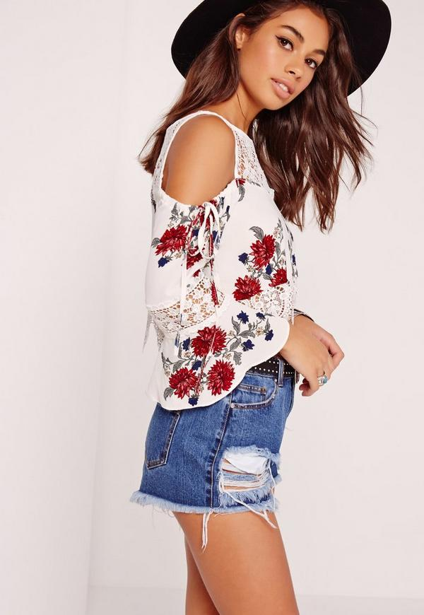 Lace Yoke Printed Cold Shouder Top Cream