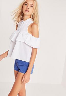 Frill Detail Bardot Shirt White