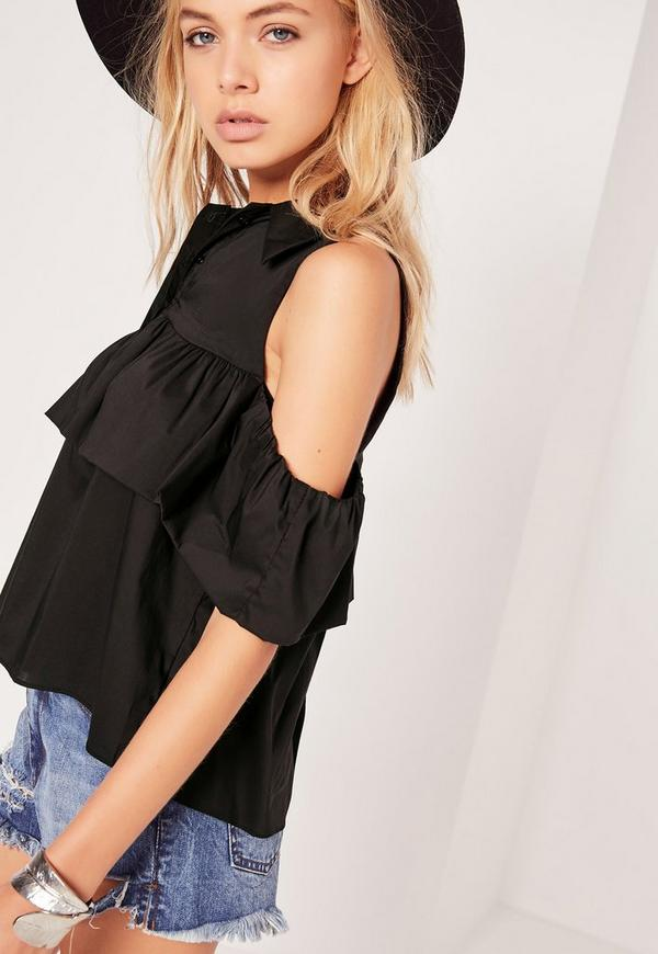 Frill Detail Bardot Shirt Black