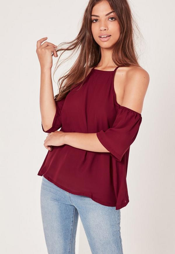 Burgundy Cami Strap Cold Shoulder Top