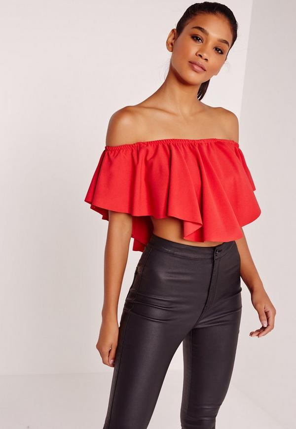 Frill Bardot Crop Top Red