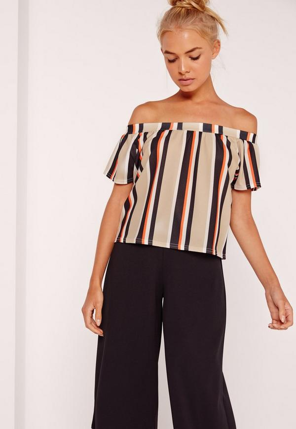 Bardot Crop Top Nude Stripe