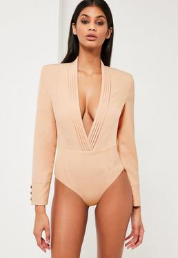 Peace + Love Nude Plunge Wrap Long Sleeve Bodysuit