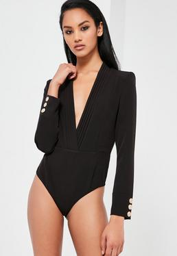 Peace + Love Black Plunge Wrap Long Sleeve Bodysuit