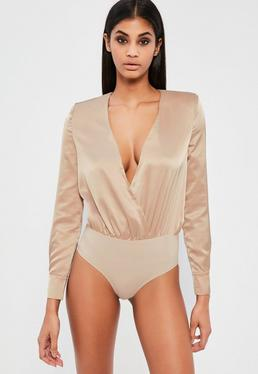 Peace + Love Nude Satin Wrap Long Sleeve Bodysuit