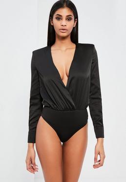 Peace + Love Black Satin Wrap Long Sleeve Bodysuit