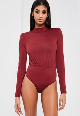 Peace + Love Burgundy High Neck Bodysuit