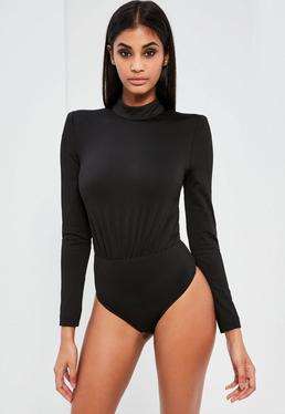 Peace + Love Black High Neck Bodysuit