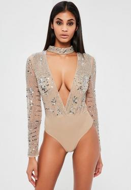 Peace + Love Silver Embellished Choker Neck Bodysuit