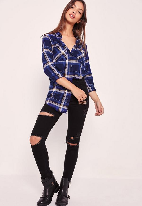 Brushed Checked Shirt Blue