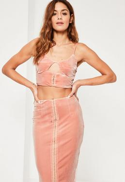 Pink Gather Plunge Velvet Bralet