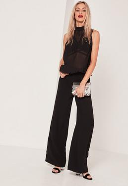 Pleated High Neck Top Black