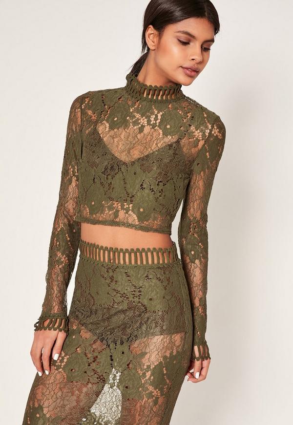 Khaki High Neck Lace Crop Top