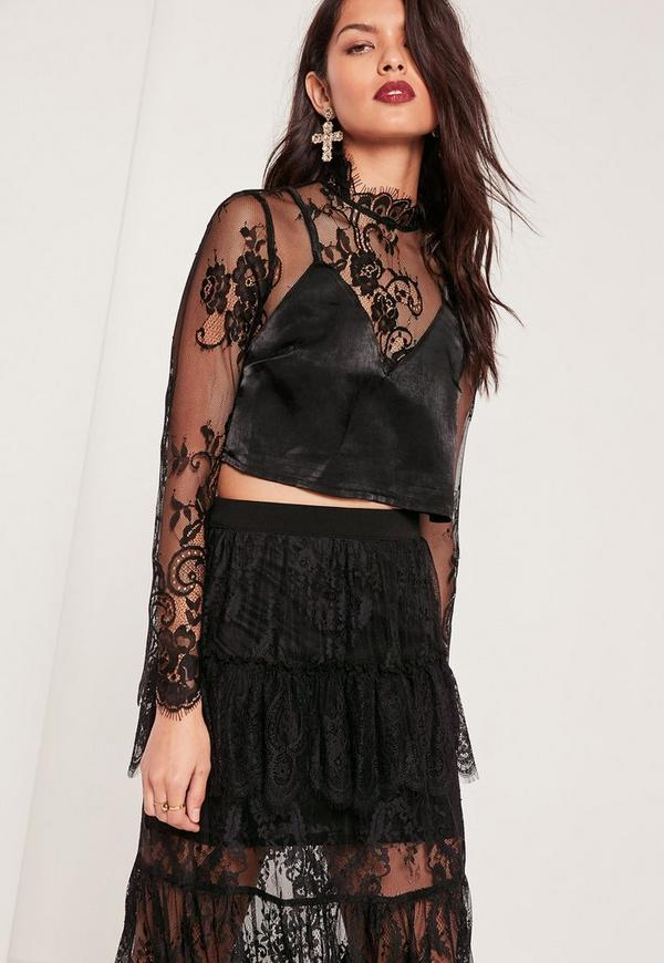 Lace Overlay High Neck Cami Top Black