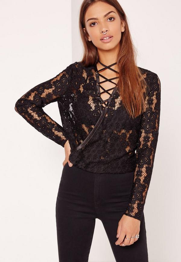Black Lace Wrap Lace Up Front Crop Top