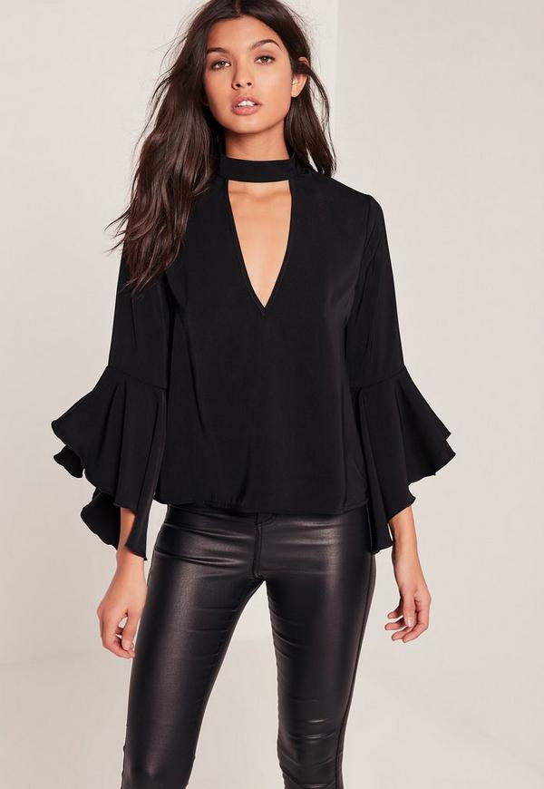 Black Choker Neck Flare Sleeve Blouse