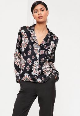 Chemise noire style pyjama imprimée