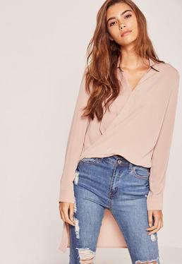 Nude Wrap Front Drop Back Shirt