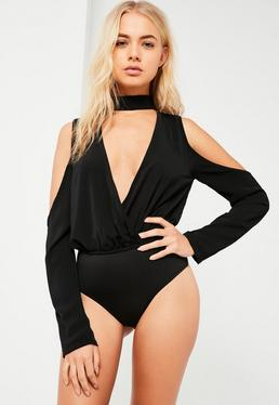 Black Choker Neck Cold Shoulder Bodysuit