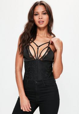 Black Harness Lace Detail Bodysuit