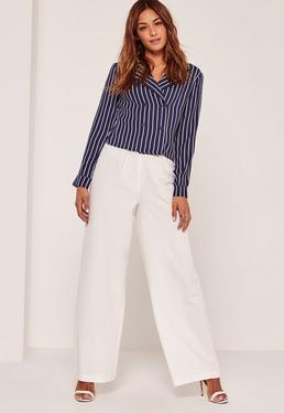 Navy Vertical Stripe Pyjama Style Shirt