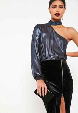 Blue Metallic Choker Neck Bodysuit